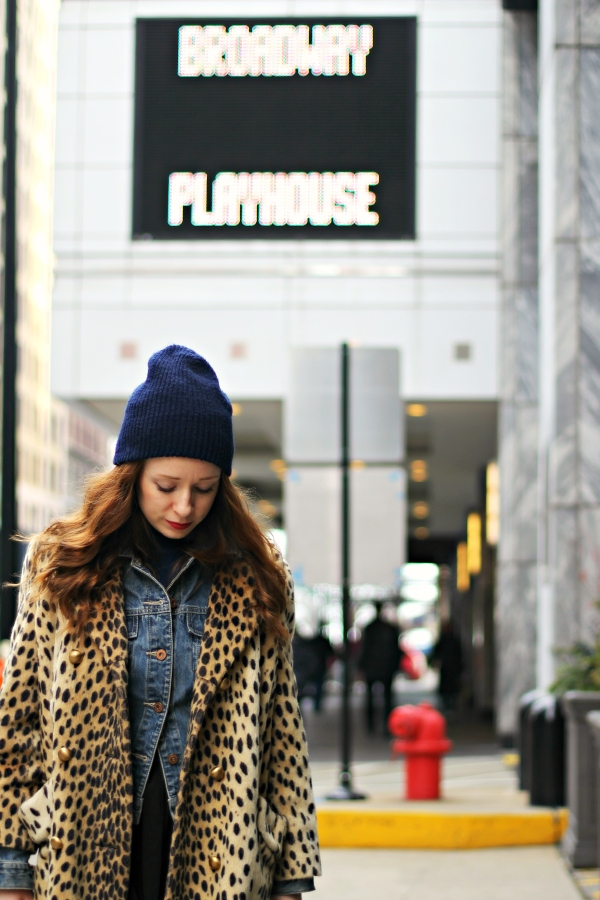 broadway in chicago, beanie, leopard coat