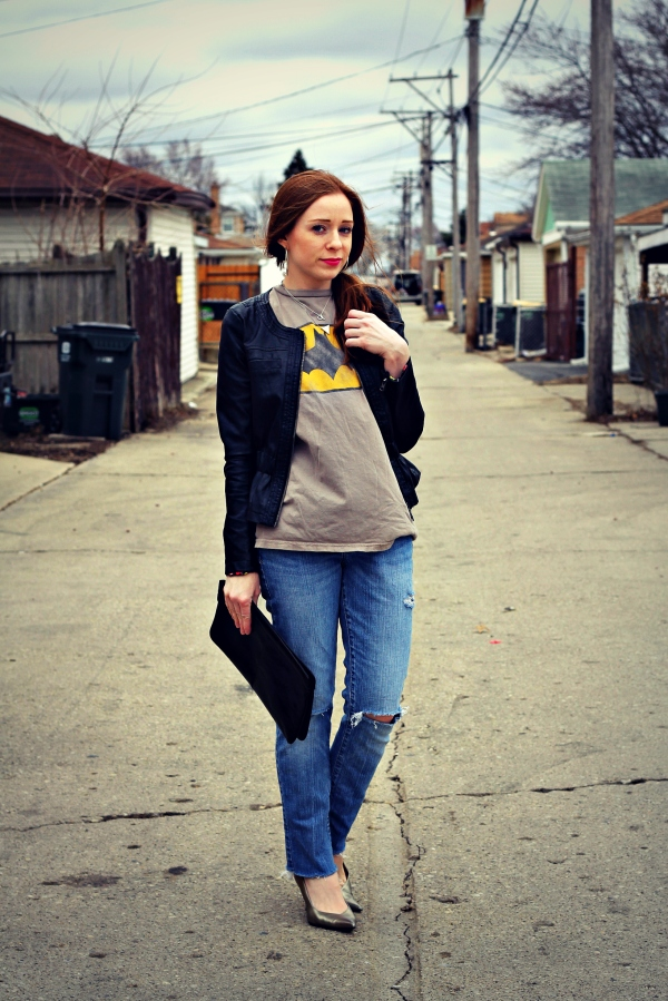 moto, graphic tee, denim - KnockedUpFabulous