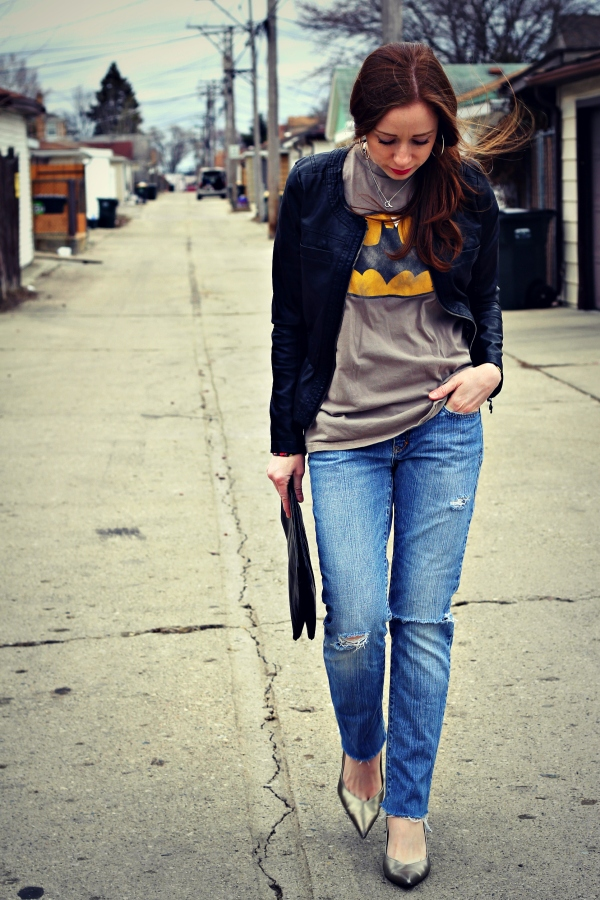 moto jacket, graphic tee, distressed denim - KnockedUpFabulous