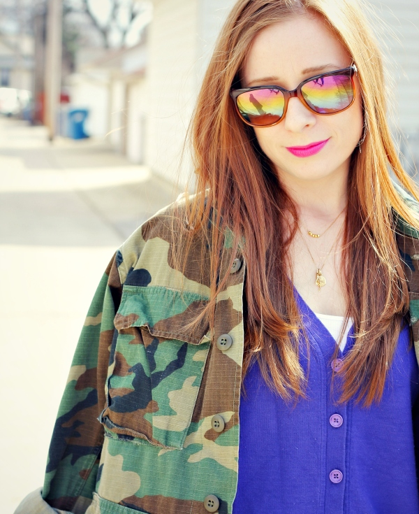 mirrored sunglasses, camo jacket | Knocked Up Fabulous