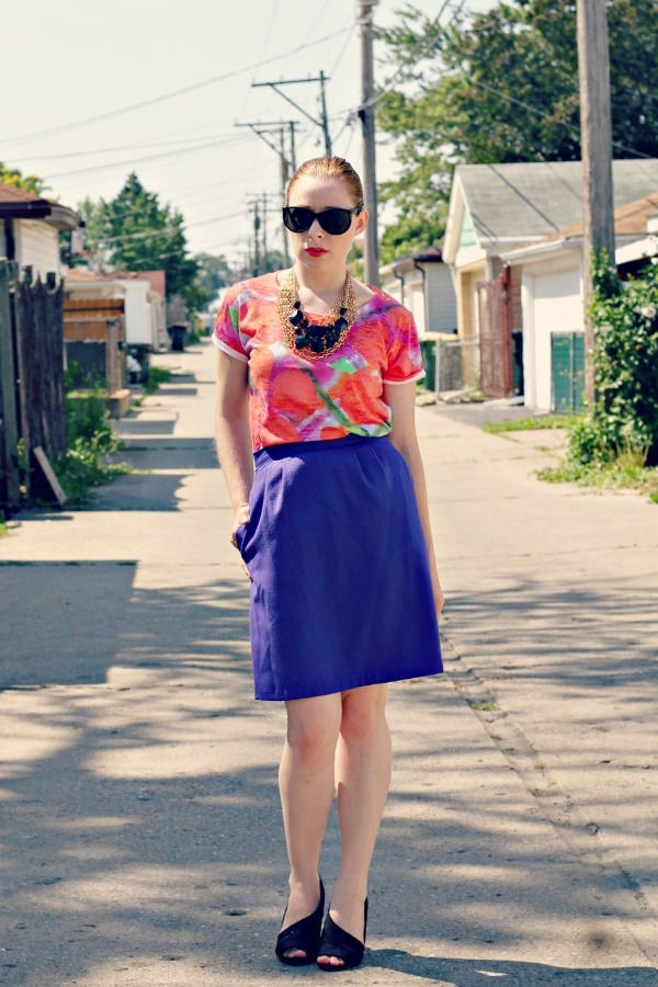 printed t-shirt, layered necklaces, purple pencil skirt, black heels - Knocked Up Fabulous