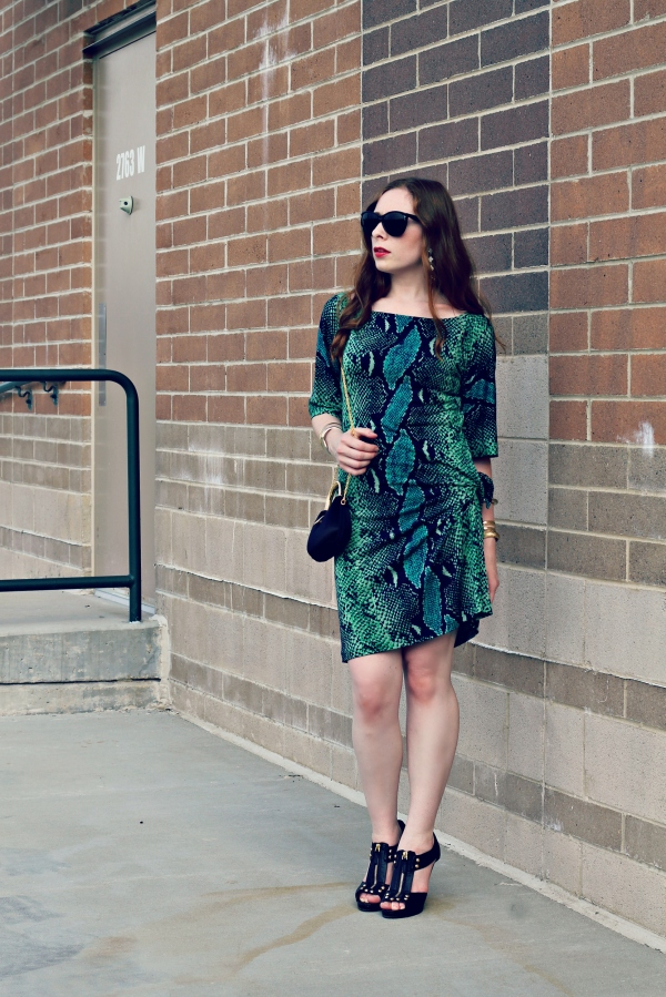 DVF green snake print dress, earrings, gold accessories, black heels, date night outfit - Knocked Up Fabulous