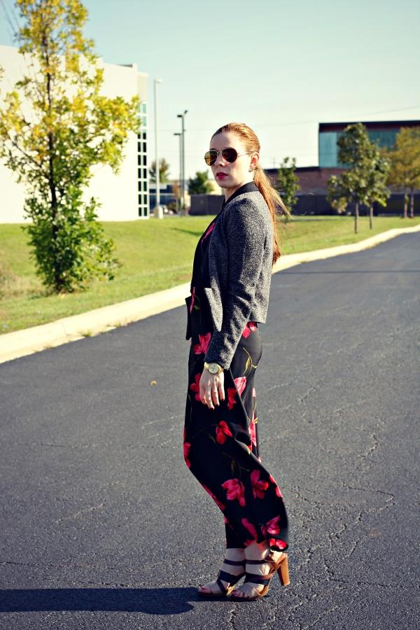 long maxi dress, tweed blazer, redhead, floral print dress, knocked up fabulous