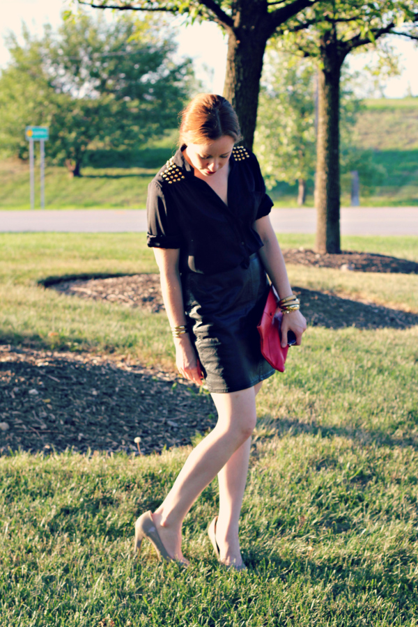 studded shirt diy, leather skirt, party outfit