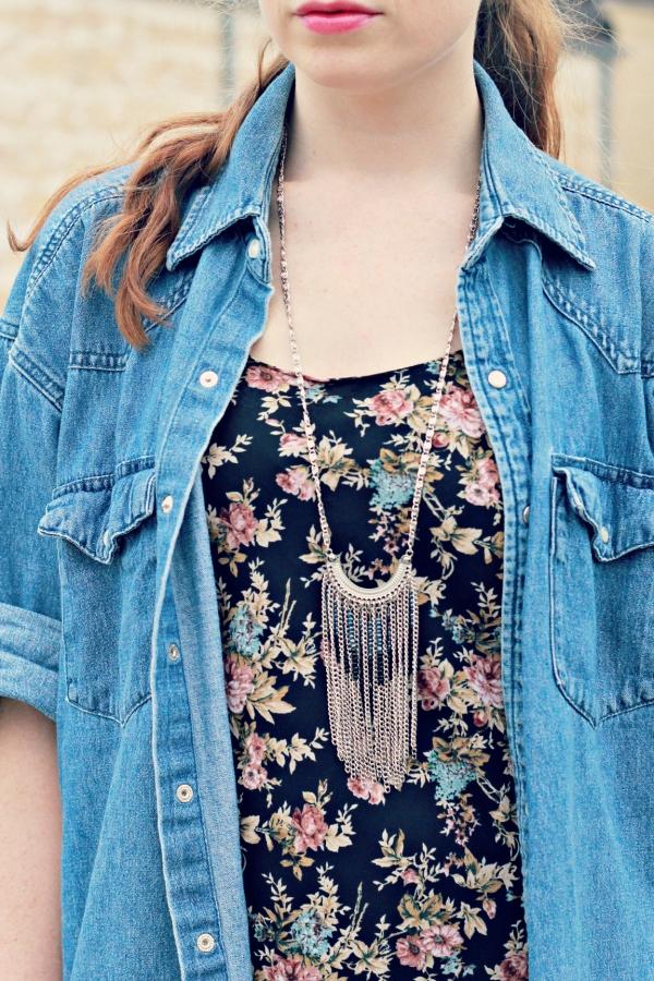 long sleeve denim shirt, long floral maxi dress, nude wedge sandals, long sliver necklace, knocked up fabulous