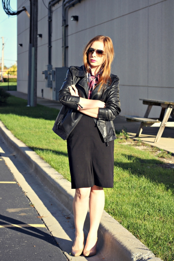 how to wear plaid for work, plaid, black pencil skirt, leather jacket, fall outfit, knocked up fabulous