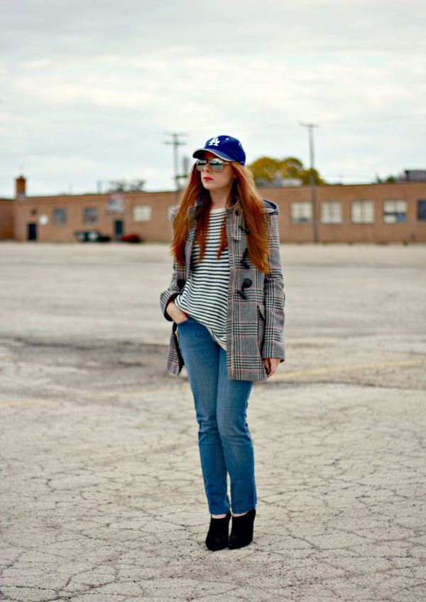 mixing prints with stripes and houndstooth