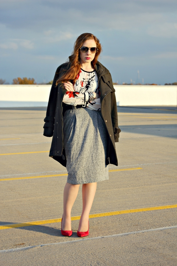 floral blouse and gray pencil skirt